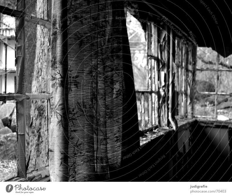 Sommerhaus Ferienhaus Haus Gebäude Ferien & Urlaub & Reisen Fenster Wochenende Gardine verfallen Demontage kaputt Romantik Muster Erholung Licht dunkel gruselig