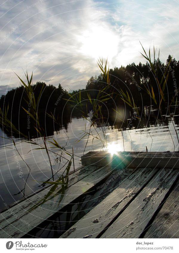 Crystal Lake Finnland Steg See Panorama (Aussicht) Wolken Wald Baum Wellen Reflexion & Spiegelung Lichtfleck Holz morsch Freitag der 13.