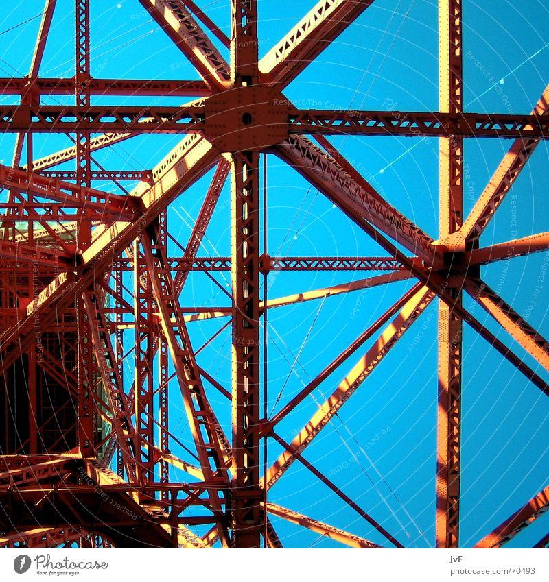 tokyo tower Himmel blau rot Metall Linie Stahl aufwärts vertikal Konstruktion Symmetrie Geometrie Bildausschnitt Anschnitt Strebe Stahlträger