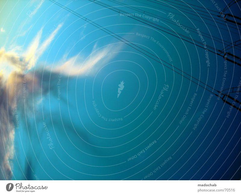 LOVE IS EVERLASTING| himmel wolken clouds energie strom energy Himmel blau Wolken Freiheit fliegen oben Wetter Energiewirtschaft Elektrizität Schönes Wetter Unendlichkeit Teile u. Stücke himmlisch Strommast Gott Container