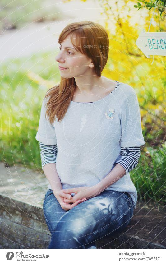 frühlingshaft Mensch Frau Kind Natur Jugendliche Ferien & Urlaub & Reisen Sommer Junge Frau ruhig 18-30 Jahre Erwachsene Umwelt Leben Wiese feminin Frühling