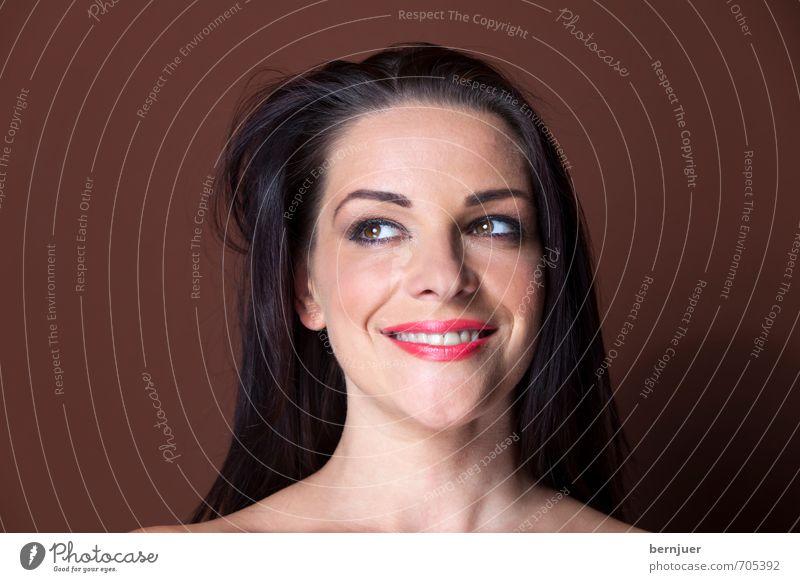 brown eyed girld elegant Stil schön Mensch feminin Junge Frau Jugendliche Kopf 1 18-30 Jahre Erwachsene Lächeln leuchten frech Fröhlichkeit natürlich braun rot