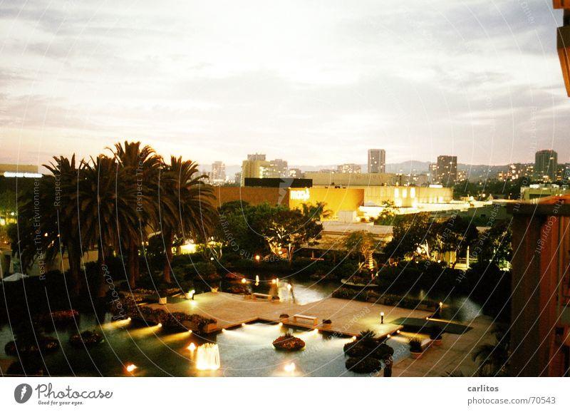Touristenkitsch Kalifornien Los Angeles Hotel Aussicht Schwimmbad Palme Smog Ferien & Urlaub & Reisen USA universal city trubel Kitsch urlaubsende Stadt