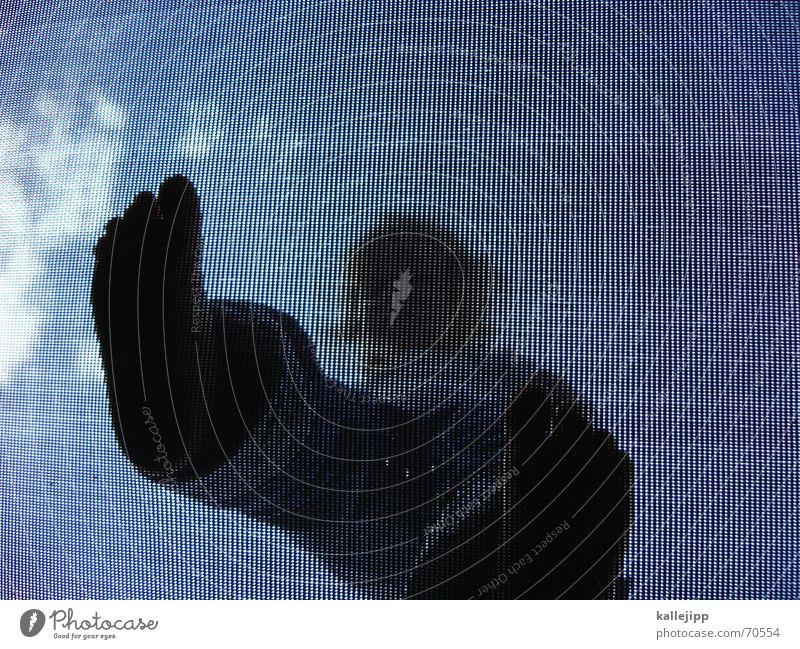 jump I Mensch Kind Himmel blau Mädchen Sommer Freude Wolken springen Fuß Raster hüpfen Trampolin Moiré-Effekt