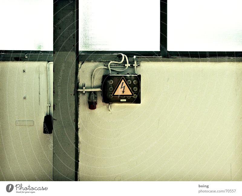 Diazed in Verbindung mit Kraftstrom Wand Sicherheit Energiewirtschaft Elektrizität gefährlich Küche Kabel bedrohlich Blitze verfallen Handwerk Werkstatt Lagerhalle Flur Hinterhof Entertainment