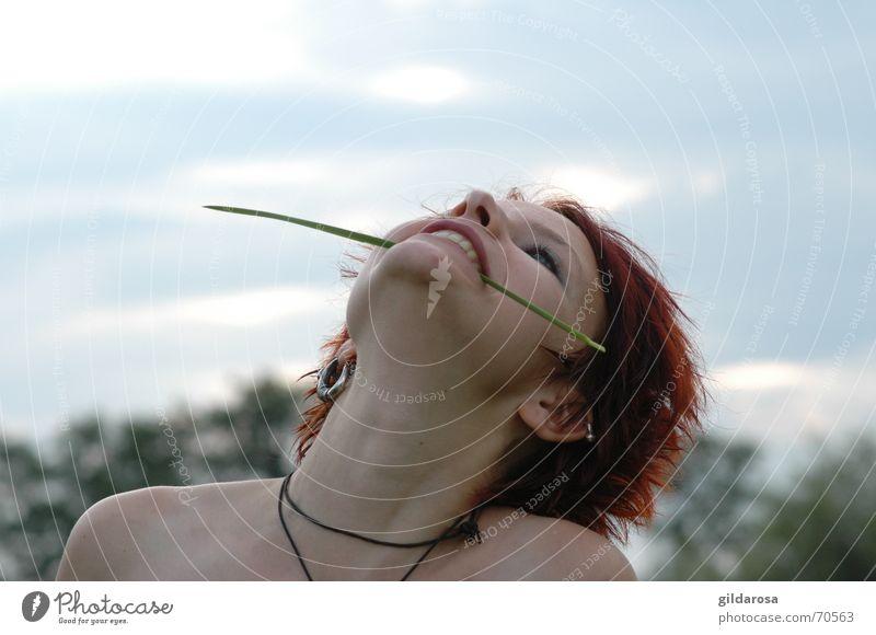 Windsbraut Frau Himmel Natur Baum Wolken Auge Landschaft Freiheit Gras Glück Mund Nase frei frisch Halm rothaarig
