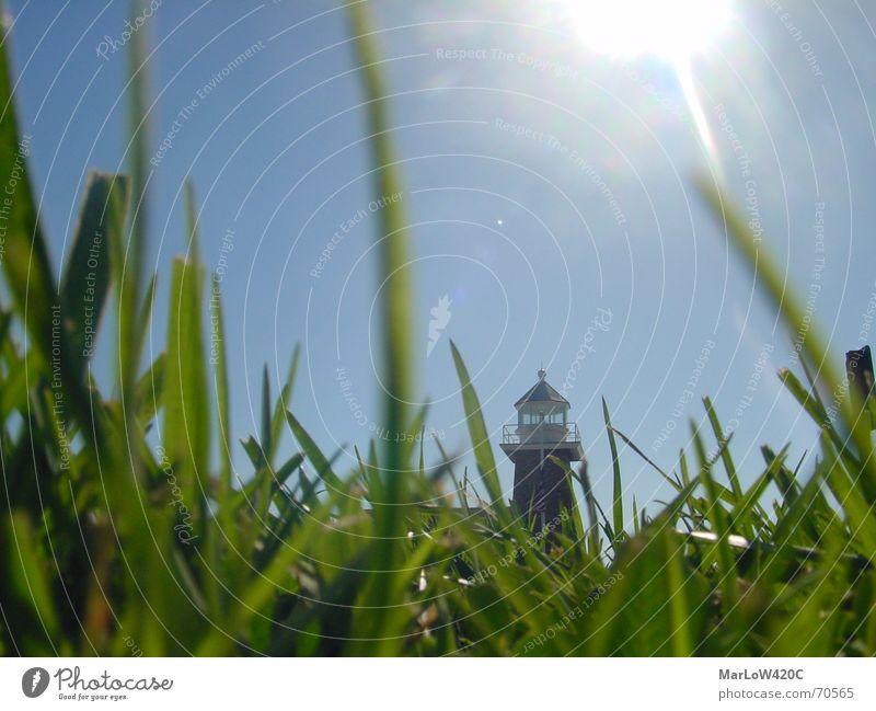 Down Under Himmel Sonne blau Gras Rasen Leuchtturm Blende