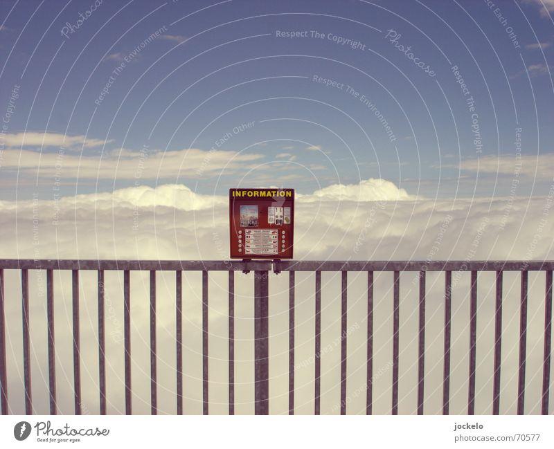 Zugspitzenfon Wolken Ferne Aussicht Geländer Fremdsprache altmodisch Fehlfarbe