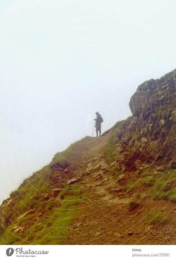 Himmelwärts Natur Einsamkeit Berge u. Gebirge wandern Nebel Suche Felsen Perspektive aufwärts Ereignisse abwärts früher Berghang Schottland Geröll