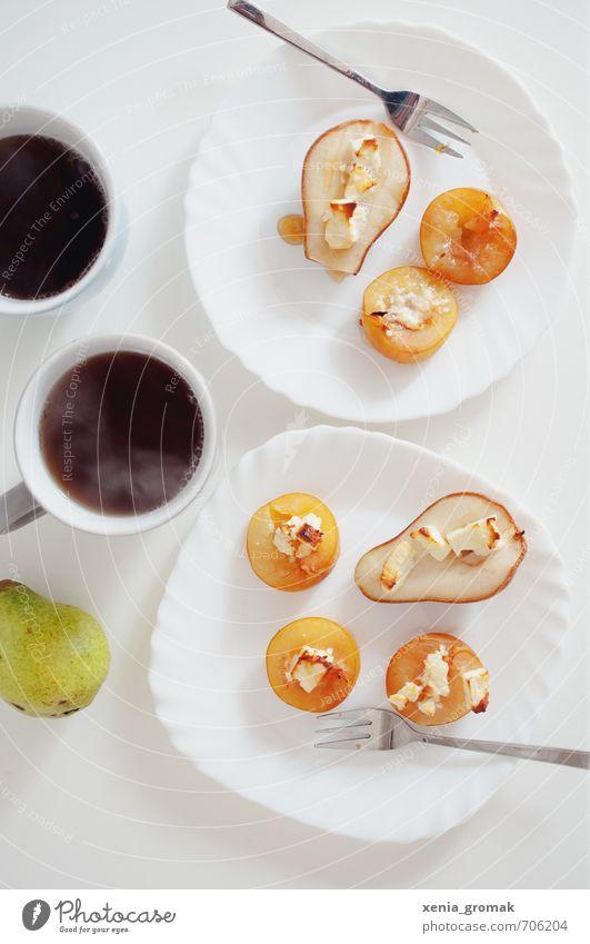 Kaffeepause weiß Lebensmittel Frucht frisch genießen Ernährung Getränk Kochen & Garen & Backen Süßwaren lecker Tee Bioprodukte Frühstück Tasse Teller
