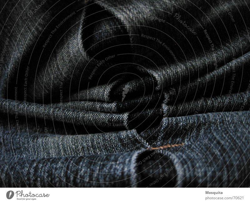 Jeans Hose Stoff Naht Falte dunkel Bekleidung Industrie Jeanshose Strukturen & Formen