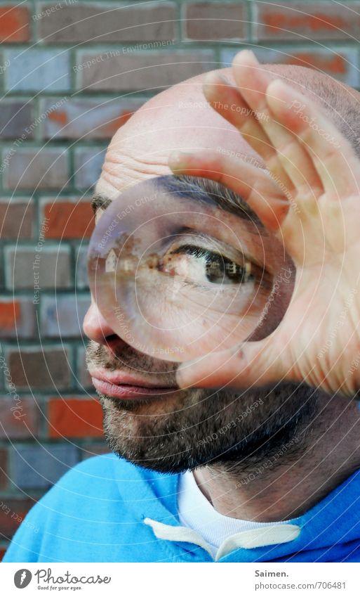isch auge disch II Mensch Jugendliche Mann Hand Freude 18-30 Jahre Erwachsene Auge Kopf maskulin Finger Neugier Bart Glatze Linse Augenbraue