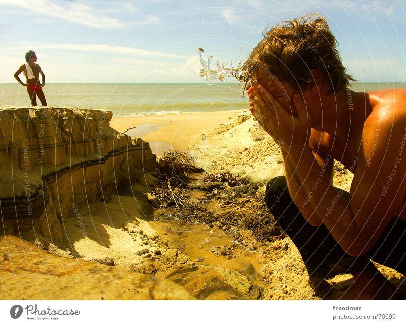 Erfrischung Himmel Sommer Wasser Sonne Meer Strand Gesicht kalt Wärme Kopf Sand Energiewirtschaft Trinkwasser Elektrizität Fluss gefroren