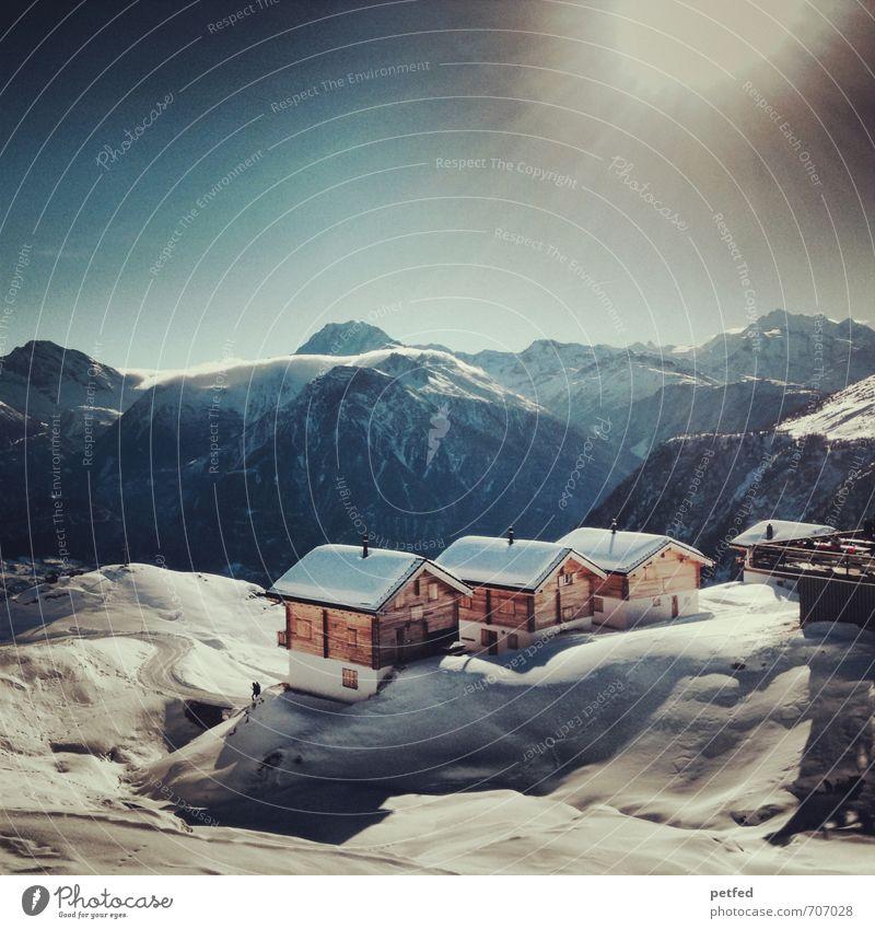 Schweiz Erholung ruhig Ferien & Urlaub & Reisen Winter Schnee Winterurlaub Berge u. Gebirge Haus Wintersport Skifahren Sonne Schönes Wetter Menschenleer Hütte