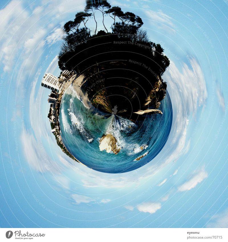 Planet Beach blau Baum Landkarte Sommer Strand Meer Erde Insel Tourismus mehrere viele Hotel Globus Jahreszeiten