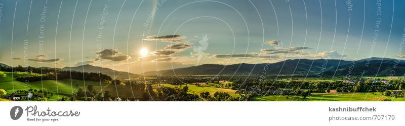 Dreisamtal harmonisch ruhig Freiheit Sommer Sonne Berge u. Gebirge Natur Landschaft Himmel Wolken Sonnenlicht Schönes Wetter Wiese Feld Wald Hügel Tal