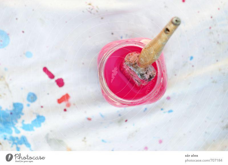 Pause blau weiß rosa Arbeit & Erwerbstätigkeit Kreativität Baustelle streichen Handwerk anstrengen Behälter u. Gefäße Anstreicher Pinsel Maler Farbfleck Lack Handarbeit