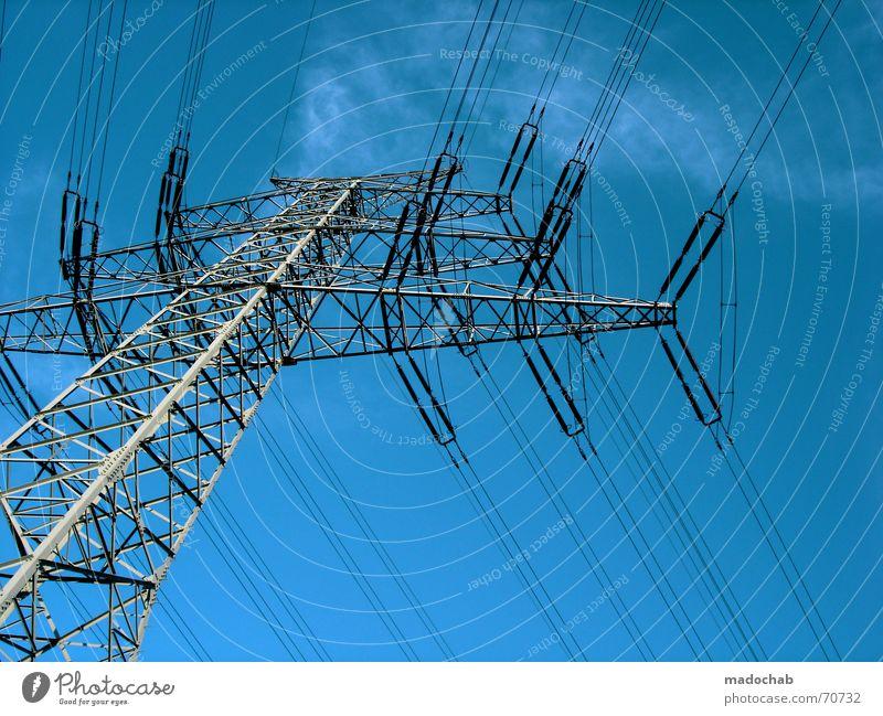 ARRIVED AND CONNECTED AGAIN Himmel Sommer Wolken Linie Kraft Energiewirtschaft Elektrizität Kabel Industriefotografie