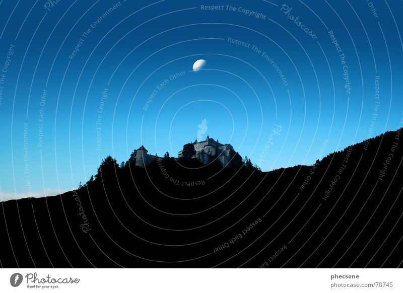 Under The Moon alt Himmel Baum blau schwarz Wolken Wald Mauer Filmindustrie Burg oder Schloss Mond Österreich Abenddämmerung König Justizvollzugsanstalt