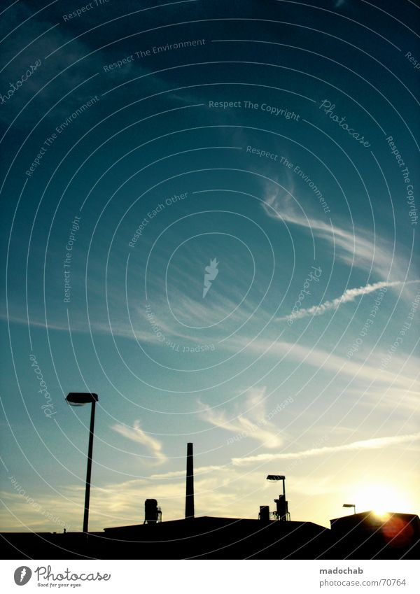 ROBOTER AUFM DACH Roboter bekömmlich Dingsbums Panorama (Aussicht) Gegenlicht schwarz Wolken Gebäude Lampe Stadt Sonnenuntergang Abend Romantik Licht Silhouette