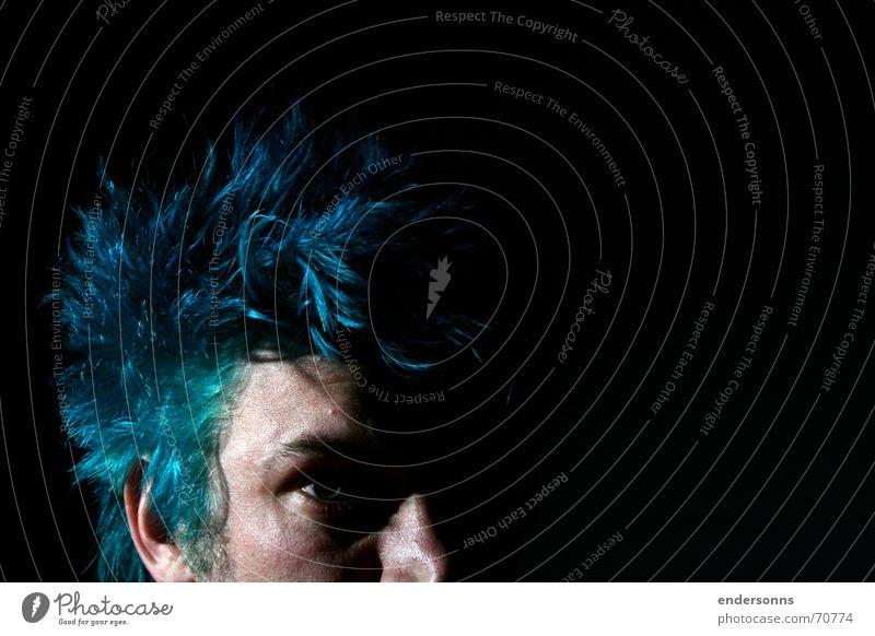 Blue Hair Darkness Mensch Jugendliche blau Gesicht Stil Traurigkeit Behaarung Brasilien glatte Haare