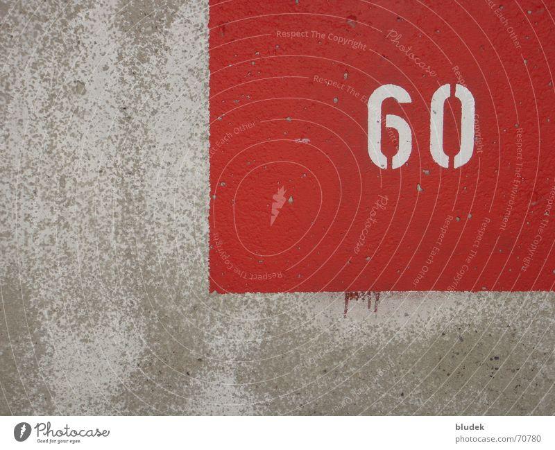 60 rot Mauer Wand Beton Ziffern & Zahlen sechzig