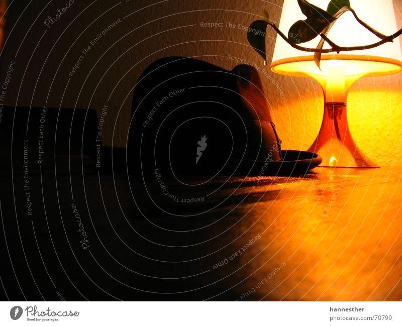 ein alter Hut alt Pflanze Ferne Lampe dunkel Holz Wärme Wohnung Tisch retro Kabel Physik Hut gemütlich Ranke Herrenhut