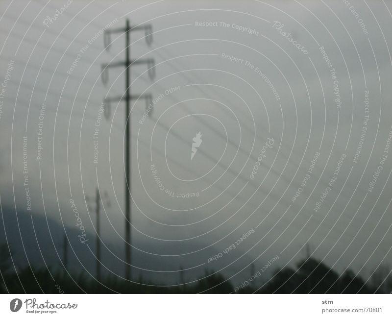 lost 10 Telefonmast Strommast grau Nebel Geschwindigkeit Autobahn verschwimmen träumen nass Trauer Landschaft Straße Ferien & Urlaub & Reisen Regen