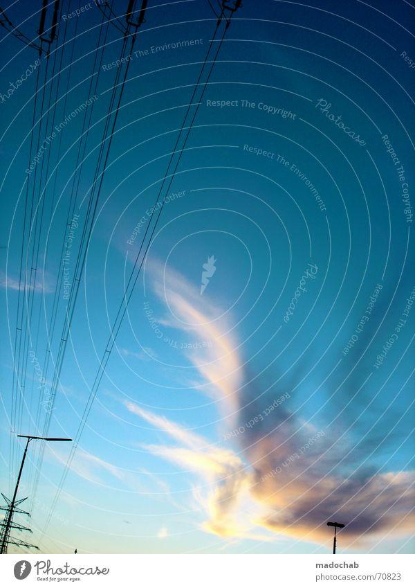 DIRECTION + ROTATION Himmel Sonne Sommer Wolken Linie Regen Kraft Energiewirtschaft Elektrizität Kabel Industriefotografie Vertrauen Leidenschaft Verbindung Dynamik Abenddämmerung