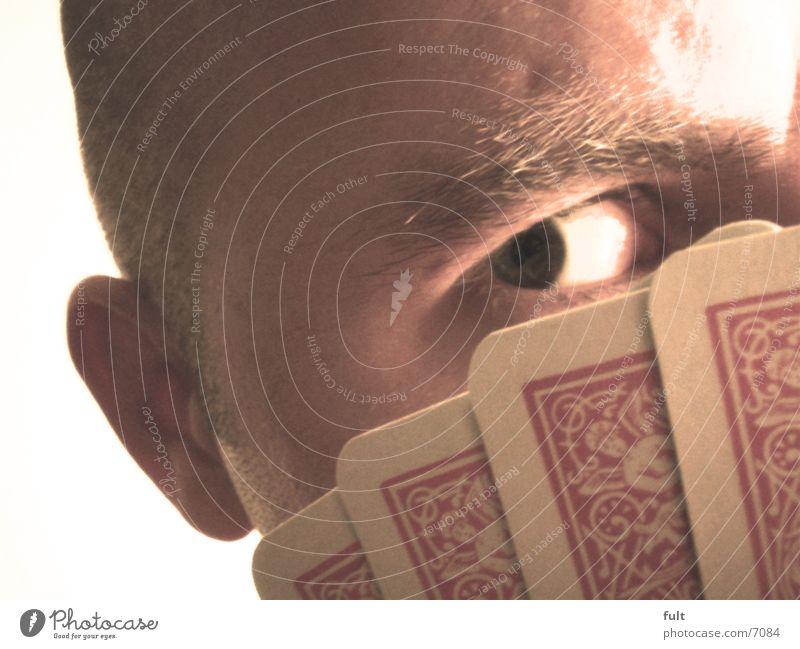Pokerface Mann Gesicht Auge Spieler