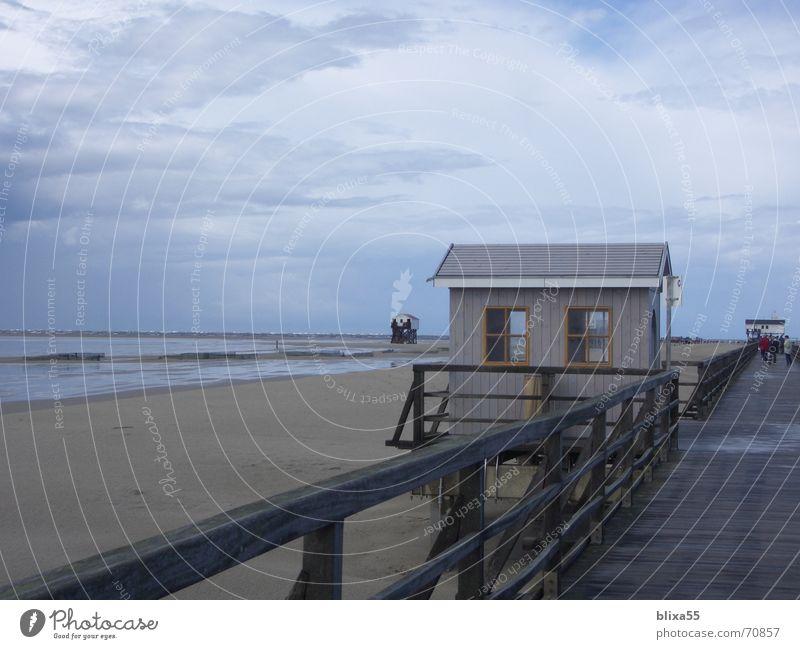 Strandhaus Himmel Meer Wolken See Sand Wind groß bedrohlich Holzbrett Geländer Nordsee Versteck Flut Ebbe schlechtes Wetter
