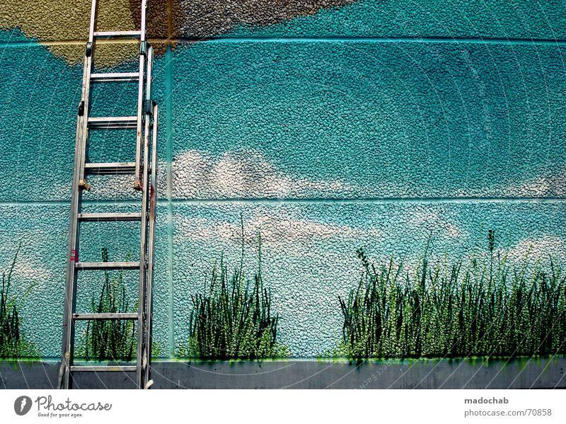 UNFINISHED REALITY VS. HIMMELSLEITER Gras sprühen unvollendet Wand Frankfurt am Main Pause Arbeiter Leiter Himmel Farbe Arbeit & Erwerbstätigkeit streichen