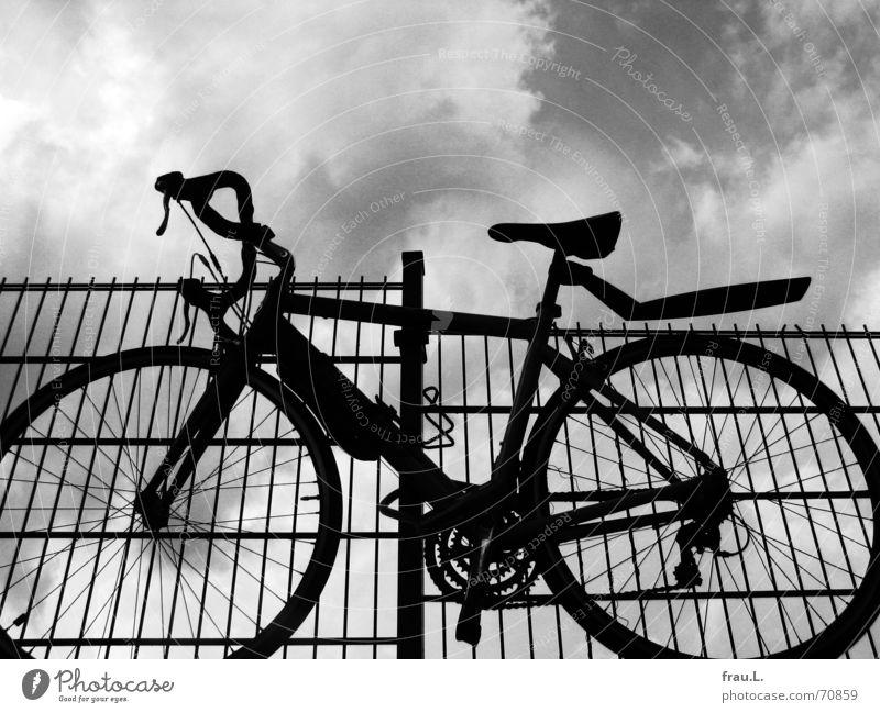 Fahrraddiebe Himmel Wolken Fahrrad Verkehr Sicherheit Dinge Burg oder Schloss Zaun parken Geborgenheit Dieb retten Diebstahl entwenden Rennrad angeschlossen