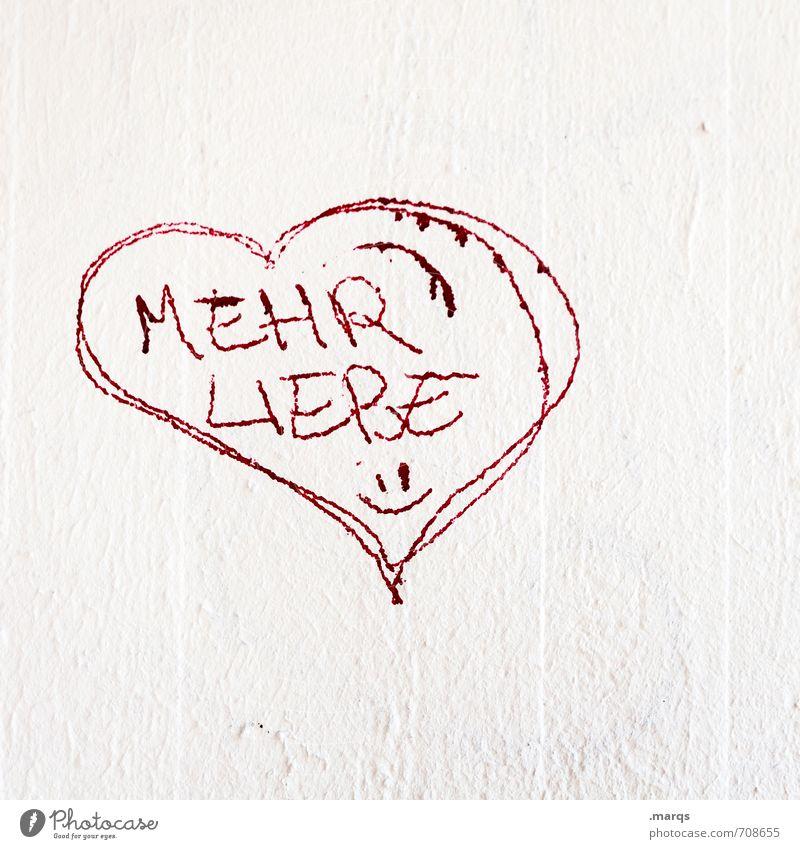 herz.haft | Mehr weiß rot Wand Leben Gefühle Liebe Mauer Stil Glück Lifestyle elegant Schriftzeichen einfach Herz einzigartig Zeichen
