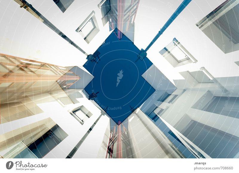 Hochhaushoch Wolkenloser Himmel Bauwerk Gebäude Architektur Mauer Wand Fassade Fenster Häusliches Leben eckig modern Design Fortschritt Perspektive Zukunft
