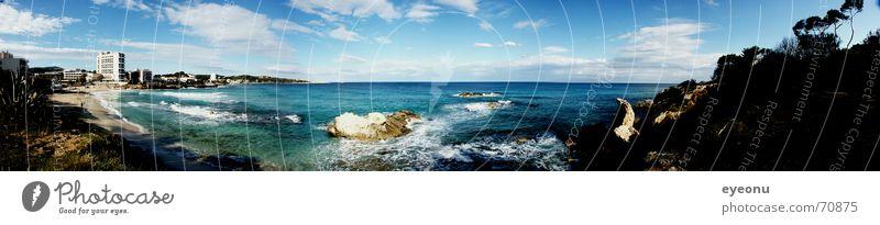 Panorama Beach Wasser Baum Meer blau Sommer Strand Küste groß mehrere Insel Tourismus Aussicht Hotel Sonnenbad Panorama (Bildformat) Mittelmeer