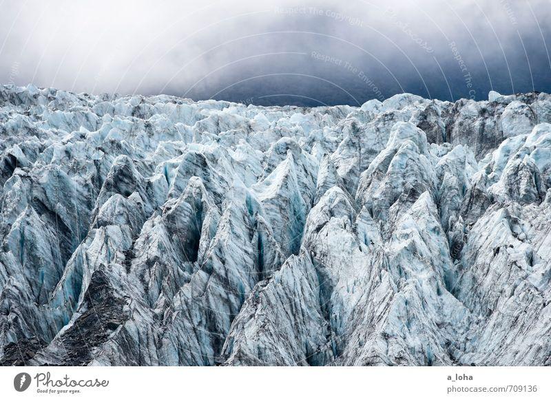 Frozen World Himmel Natur Ferien & Urlaub & Reisen blau Wasser kalt Berge u. Gebirge Umwelt Eis Nebel Klima Vergänglichkeit Urelemente Gipfel Frost Fernweh