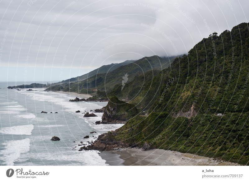 The Land Of The Long White Cloud Himmel Natur Ferien & Urlaub & Reisen Wasser Pflanze Sommer Meer Landschaft Wolken Ferne Strand Umwelt Berge u. Gebirge Straße