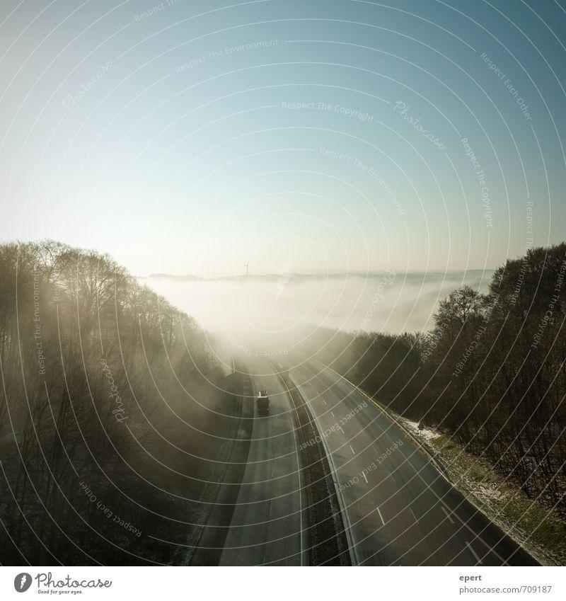 Road to Sauerland Natur Landschaft Horizont Sonnenlicht Nebel Wald Hügel Berge u. Gebirge Verkehrswege Straße Wege & Pfade Autobahn Fahrzeug Lastwagen frei