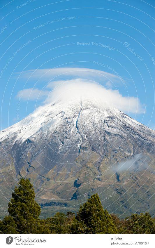 fernweh Umwelt Natur Landschaft Pflanze Urelemente Luft Himmel Wolken Herbst Schönes Wetter Eis Frost Baum Gras Berge u. Gebirge Gipfel Schneebedeckte Gipfel
