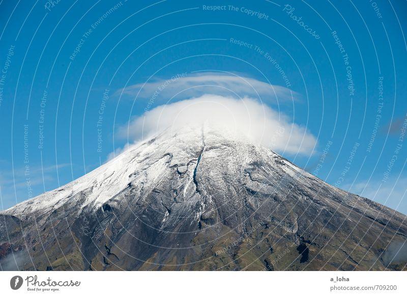 Te Maunga o Taranaki I Himmel Natur Ferien & Urlaub & Reisen blau grün weiß Pflanze Sommer Landschaft Wolken kalt Umwelt Berge u. Gebirge natürlich außergewöhnlich Luft