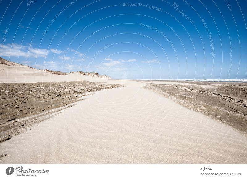 life is a beach Umwelt Natur Landschaft Urelemente Sand Wasser Himmel Wolken Horizont Sommer Klima Schönes Wetter Wärme Wellen Küste Strand Meer Linie Streifen