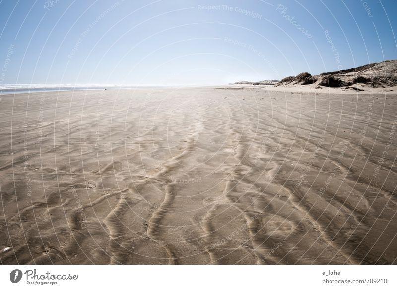 daydreams Umwelt Natur Urelemente Sand Luft Wasser Wolkenloser Himmel Horizont Sommer Klima Schönes Wetter Wellen Küste Strand Meer einfach blau braun Fernweh