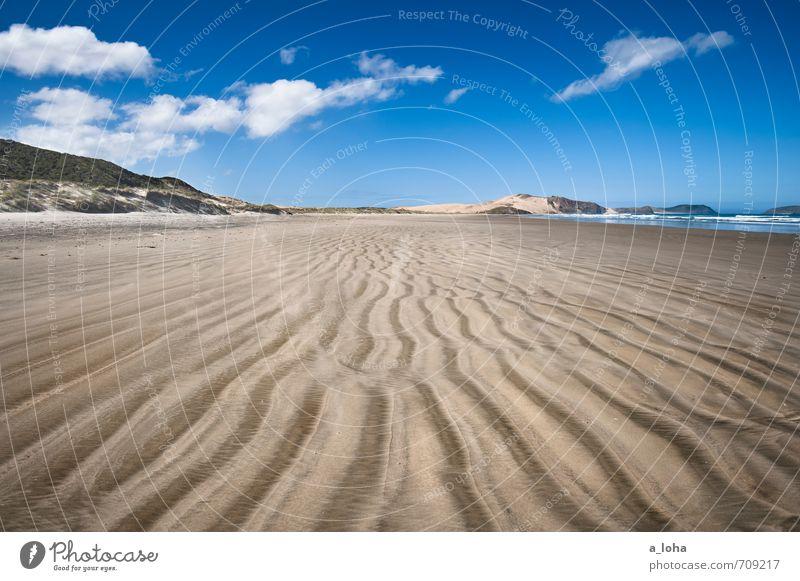 Beautiful Day Umwelt Natur Landschaft Urelemente Sand Wasser Himmel Wolken Horizont Sommer Schönes Wetter Wellen Küste Strand Meer Linie Streifen Fernweh