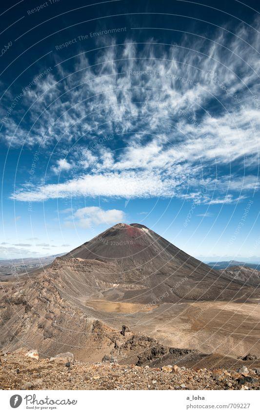 Der Schicksalberg Umwelt Natur Landschaft Urelemente Erde Feuer Himmel Wolken Horizont Sommer Schönes Wetter Gipfel Vulkan Wüste gigantisch groß blau braun weiß
