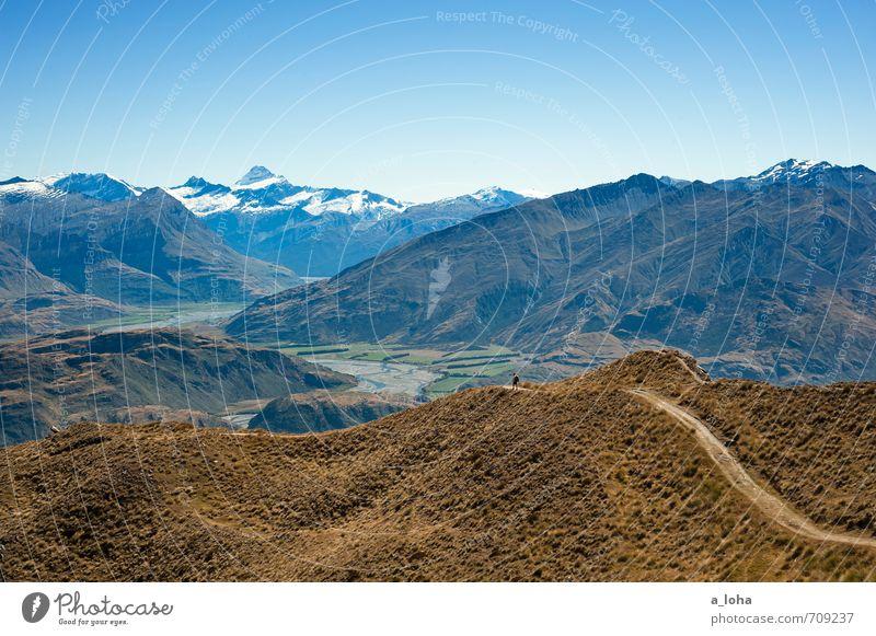 I Am The Mountain wandern maskulin 1 Mensch Natur Landschaft Urelemente Wolkenloser Himmel Horizont Sommer Schönes Wetter Gras Hügel Felsen Alpen
