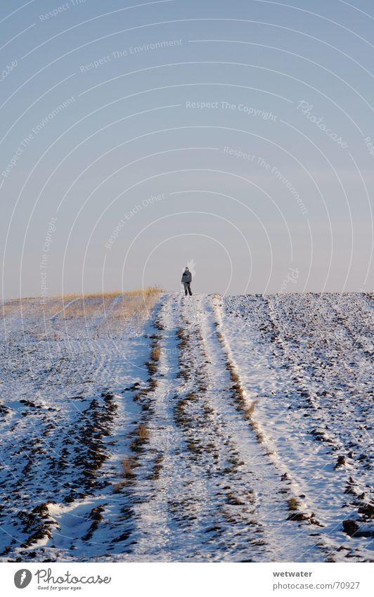 woman on top Mensch Himmel weiß Winter Landschaft kalt Schnee klein Feld