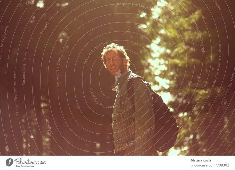 wanderwetter. Mensch maskulin Junger Mann Jugendliche Erwachsene 1 18-30 Jahre Coolness skeptisch Wald Lichtspiel Erinnerung Farbfoto mehrfarbig Außenaufnahme