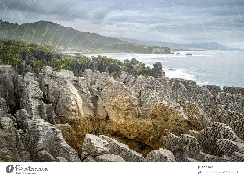Pfannkuchen Natur Ferien & Urlaub & Reisen Landschaft Küste außergewöhnlich Felsen Abenteuer exotisch schlechtes Wetter Neuseeland Pancake Rocks