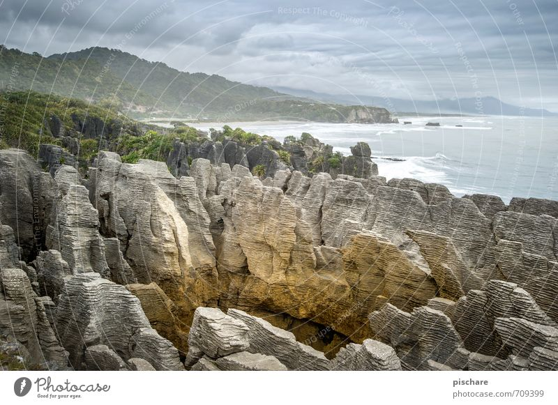 Pfannkuchen Natur Landschaft schlechtes Wetter Felsen Küste außergewöhnlich exotisch Abenteuer Ferien & Urlaub & Reisen Pancake Rocks Neuseeland Farbfoto